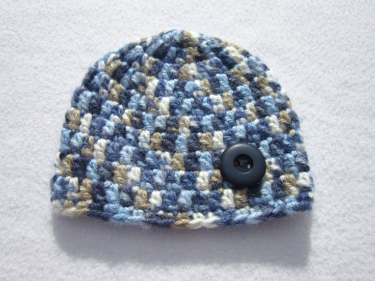 Baby Hat, Fluffy Cream Blue and Tan Baby Beanie with Button, Photo Prop, Soft Unisex Baby Cap, Crochet 3 to 6 months, Ready To Ship by crochetedbycharlene on Etsy