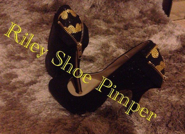 Custom made glitter Batman heels by RileyShoePimper on Etsy https://www.etsy.com/listing/249137108/custom-made-glitter-batman-heels