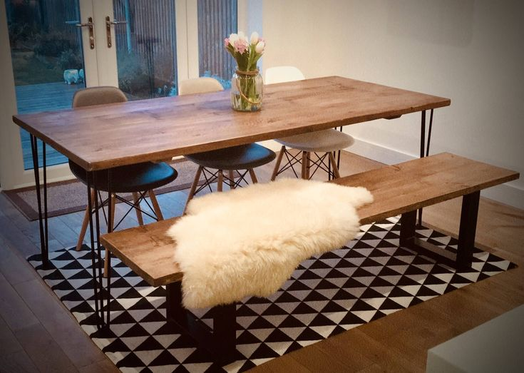 A Rustic industrial style dining table handcrafted from reclaimed Pine scaffold boards mounted on hair pin legs by Annics on Etsy https://www.etsy.com/uk/listing/526617351/a-rustic-industrial-style-dining-table