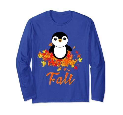 Fall Autumn Seasonal Penguin Shirt With Long Sleeves Penguins Fall Autumn Leaf Red Yellow Orange Tshirtdesign Graphic Sweatshirt Tshirt Designs Shirts