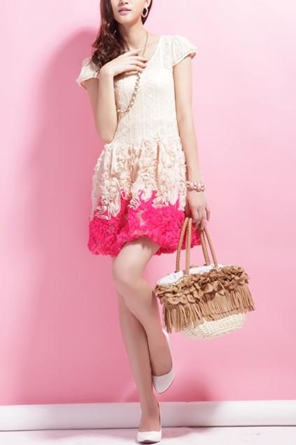 Structured Flower Embellished Short Sleeve Mini Dress