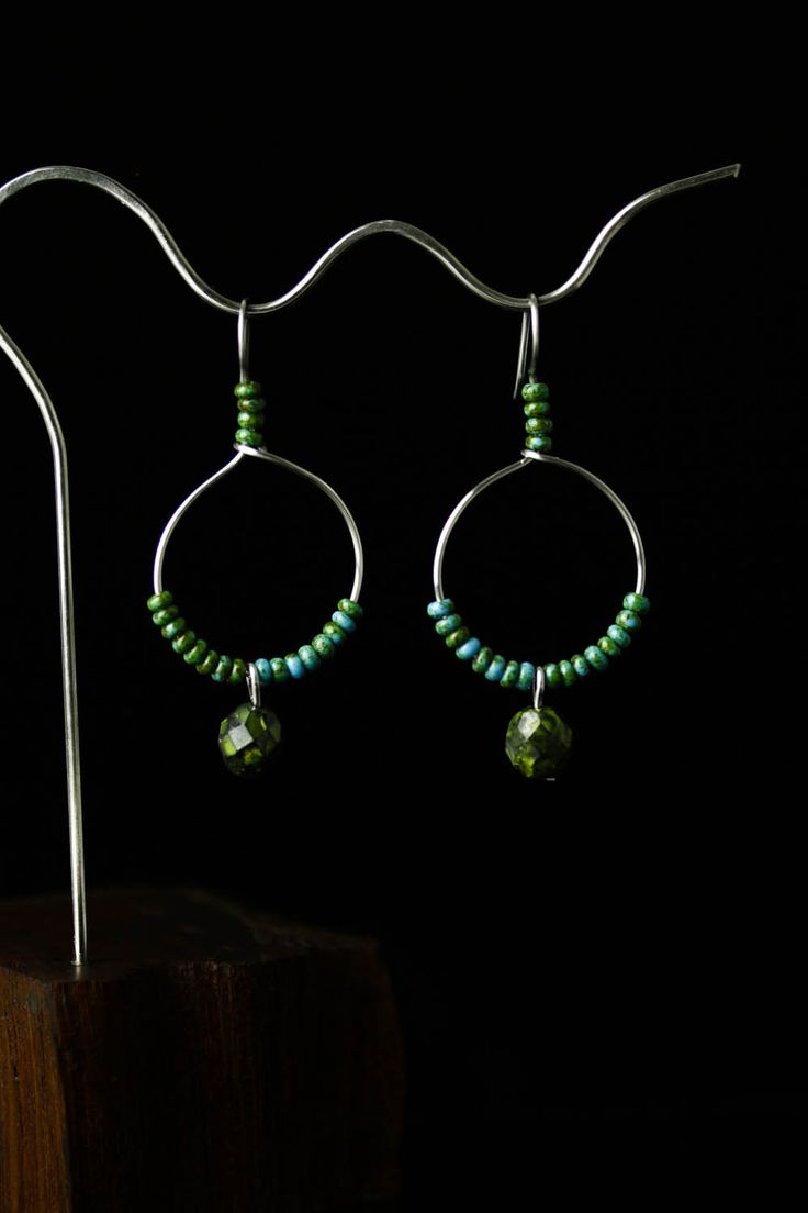 Stainless Steel Hoop Earrings With Green Glass Beads, Hand Wrought Earrings, Women's Jewelry Gift, Gift Idea, Free Shipping by OlivaGlass on Etsy