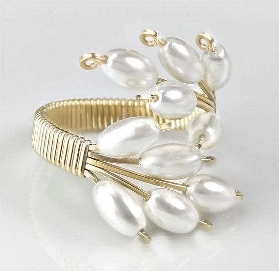 Adjustable Ring White Cultured Pearl and Gold by PixieDustFineries