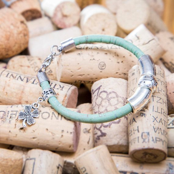 Cork Rope Bracelet with Silver plated Metal by MindTheGrace