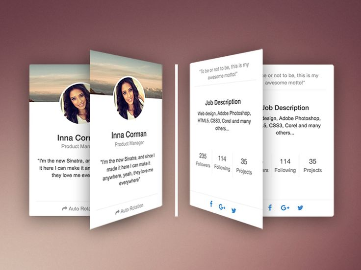 FREE Bootstrap Rotating CSS Cards Snippet: Since this  effect resembles the action of flipping a card, it surprises the user in a nice way, while keeping the experience natural.