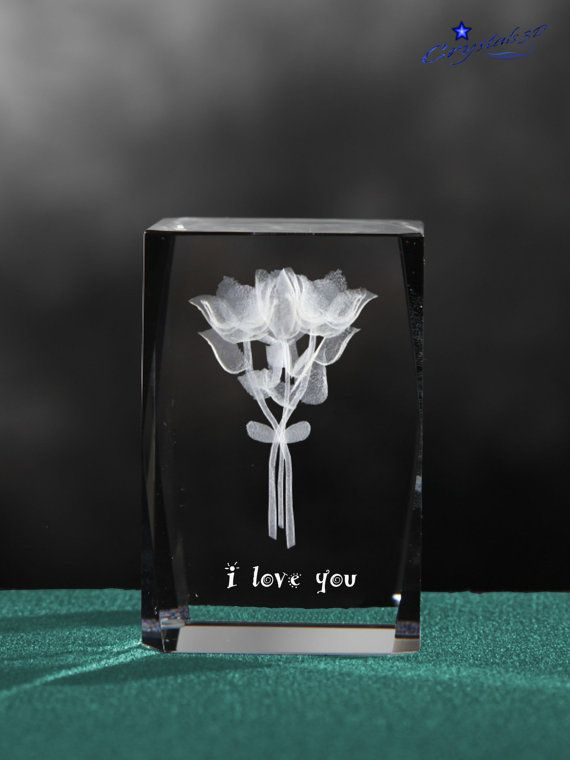 Bunch of flowers 3d flowers engraved in a by Crystals3DEngraving