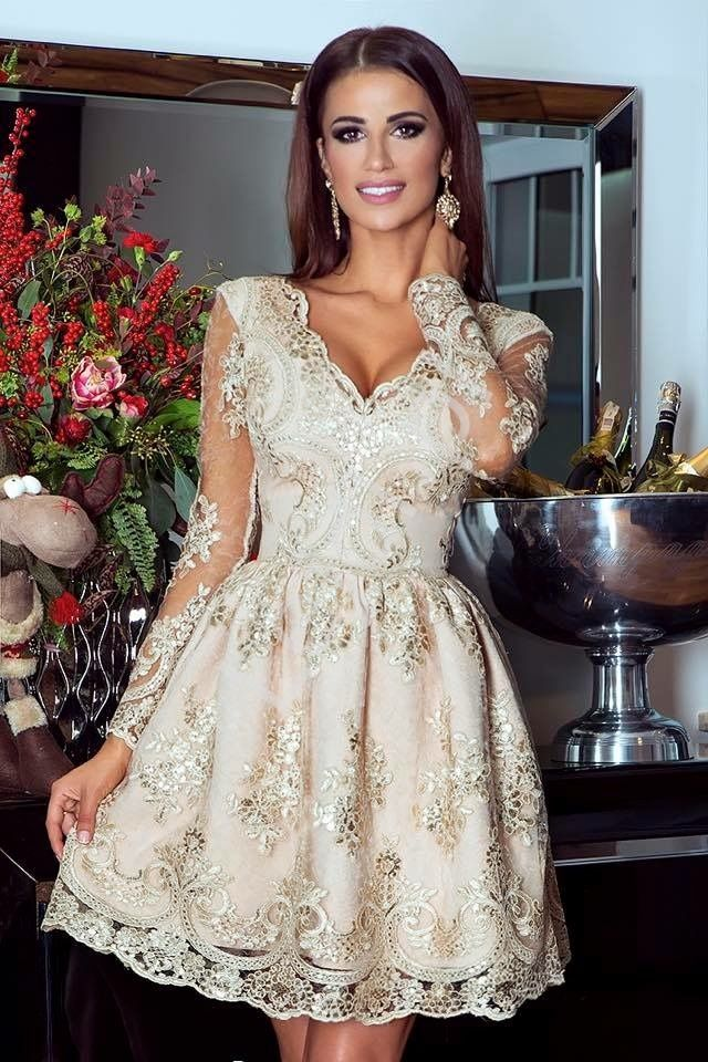 Złota Sukienka Na Wesele Elegancka Koronkowa Rozkloszowana Sukienka