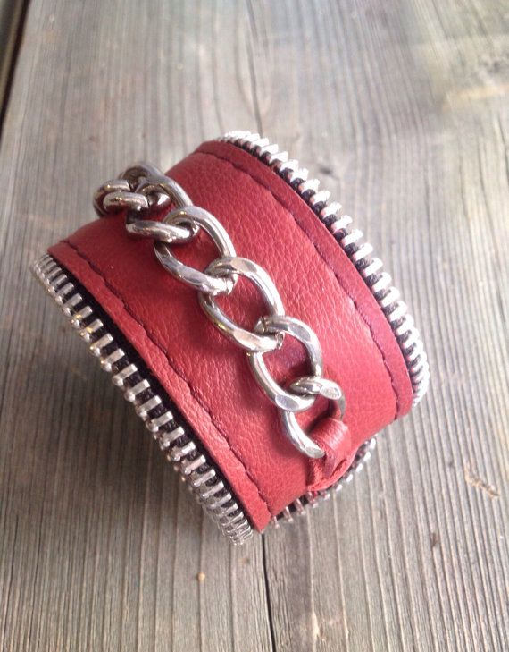 Barn Red Motorcycle Chic Cuff with Chunky by HeartnSoulHandbags, $35.00