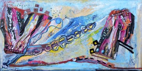 Golchehreh by artist Mina Hamidi is a beautiful mixed media artwork that would brighten up any room! A stunning work in beautiful colours.