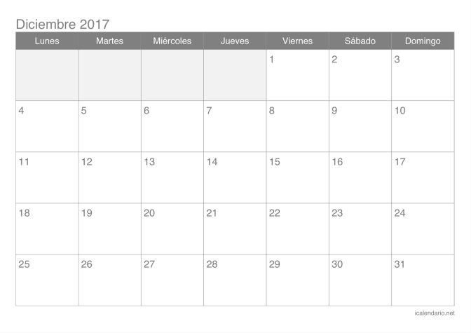 Calendario de diciembre 2017