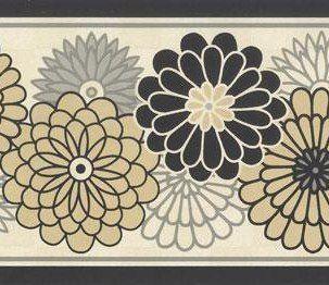 Wallpaper Border Waverly Modern Blackgrey Beige Floral On Cream
