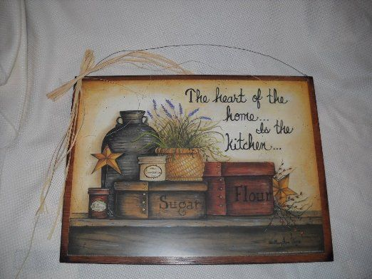 Amazon Com Heart Of The Home Is The Kitchen Country Wall Art Sign Stars