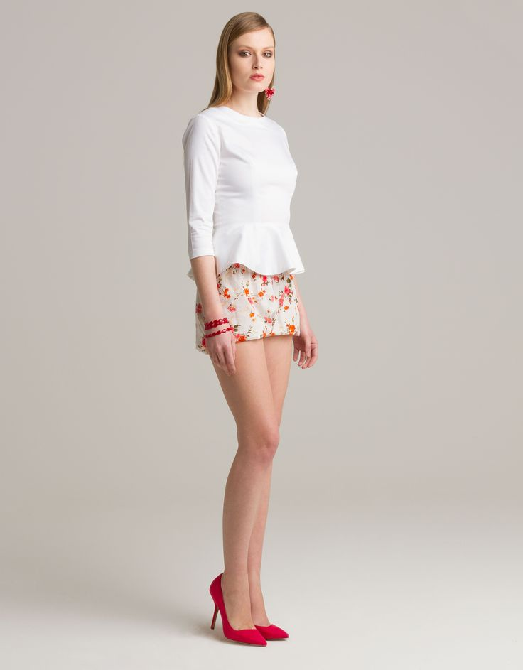 Peplum blouse and floral print shorts by eMManuela http://shop.maisonacademia.com/collections/spring-summer-2013/products/0015a