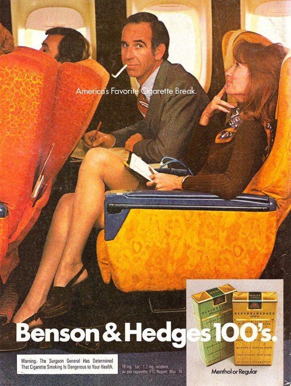 Anuncio de Benson-Hedges-1974. Se acuerdan cuando se podia fumar en los aviones?
