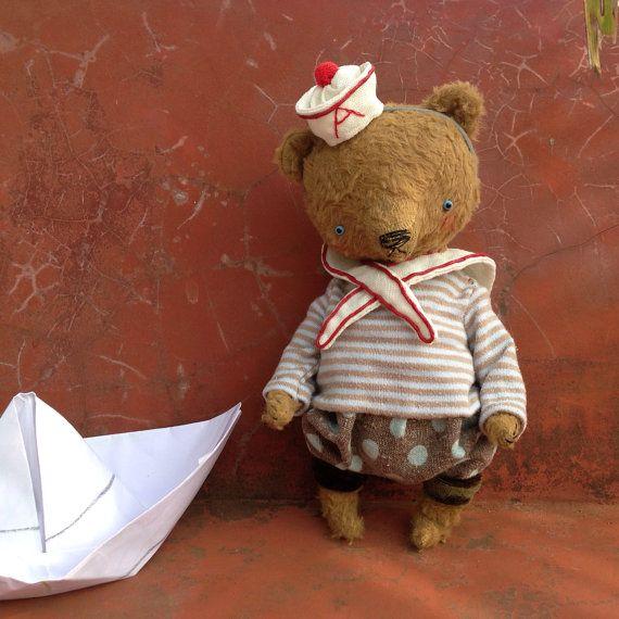 65 inch Artist Handmade OOAK Viscose Sailor Teddy by SashaPokrass, $210.00