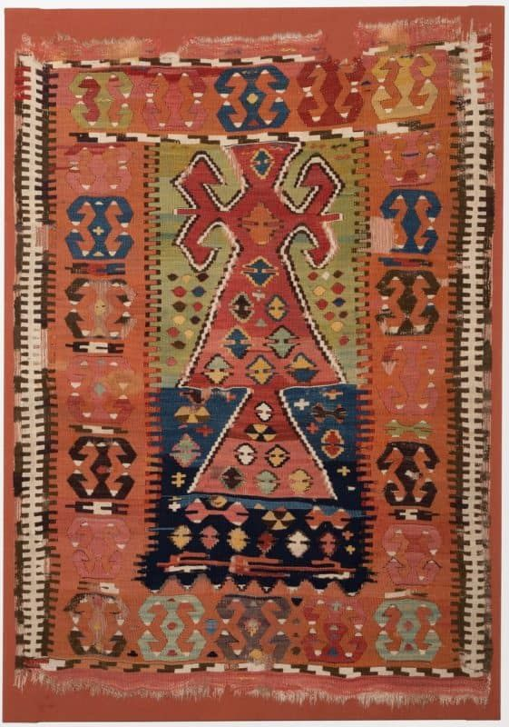 Woven wool prayer kilim from Cappadocia, Central Anatolia c.1830. Joss Graham at Hali Fair