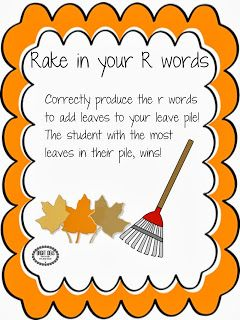 Fall Frenzy : Articulation! Rake in your R words, practice /r/ in sentences increasing in complexity and add /s/z/ and /l/ apples to your baskets!