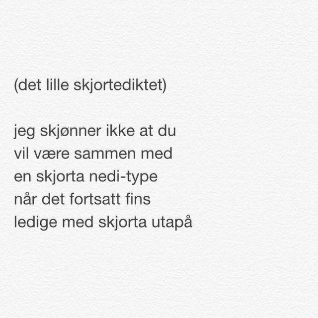 Jeg har utfordret flinke Nils-Øivind Haagensen om å skrive et dikt til @renpoesi-siden. Her er det, inspirert av et par på en bar. (Ikke alle dikt funker like bra her pga lengden, så fint m noe skreddersydd i blant..) Kanskje jeg kan utfordre deg neste gang - når du har tid @ruthlil ?:) #nilsøivindhaagensen