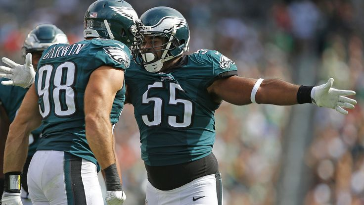 Connor Barwin #98 of the Philadelphia Eagles celebrates Brandon Graham #55 after sacking quarterback Robert Griffin III #10 of the Cleveland Browns during the fourth quarter at Lincoln Financial Field on September 11, 2016 in Philadelphia, Pennsylvania. The Eagles defeated the Browns 29-10.