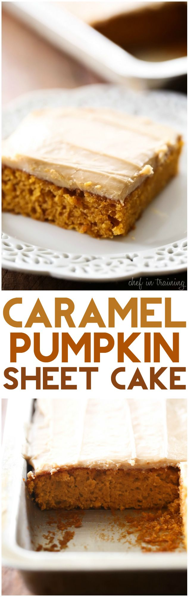 Caramel Pumpkin Sheet Cake... This will be the BEST dessert you make this fall! The caramel-pumpkin combination is HEAVENLY! The cake is so moist and the caramel frosting is the perfect finishing touch!