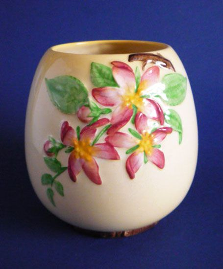 Large Carlton Ware Yellow 'Apple Blossom' Vase c1945