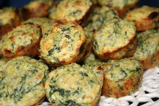 Spinach Muffins from Food.com: I got this recipe from my sister, Judy. They are a great side dish for dinner or soup, and are easy to make. These muffins might just convert some non-spinach lovers. If you make these in mini-muffin tins, bake for 10-15 minutes.