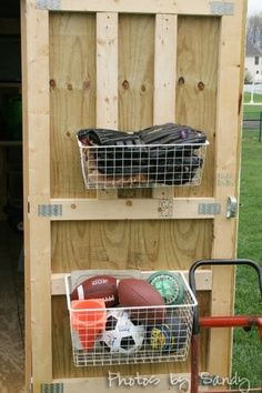 shed organization ideas - use the inside of the doors...