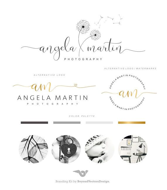 Dandelion Logo, Photography Logo Set, Photo Watermark, Gold Logo Signature, Stamp Logo, Blog logo. This Premade Branding Kit would be perfect for newborn photographers, wedding photographers, event planners, wedding venues, interior designers, stylists, boutiques, make-up artists and other.  AFTER PURCHASING, EACH MY PROJECT WILL BE CUSTOMIZED BY FOLLOWING: PLEASE PROVIDE THE FOLLOWING AT CHECKOUT: ===============&#x3D...