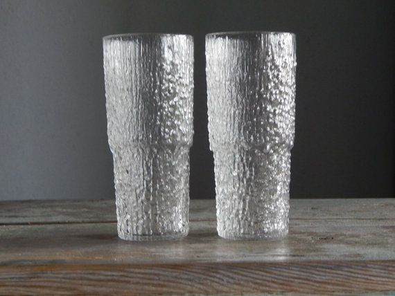 Set of 2 Scandinavian Vintage IIttala Finland Paadar Juice Glass Designed by Tapio Wirkkala 1970 s Textured Glass Finnish Cocktail Glass
