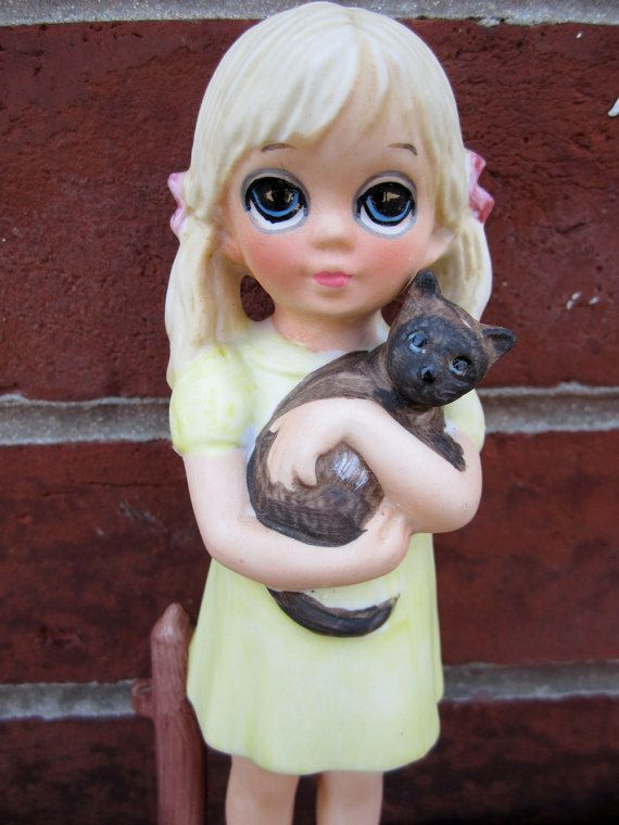 Margaret+and+Walter+Keane | vintage 1970s margaret walter KEANE figurine my KITTY collectible ...