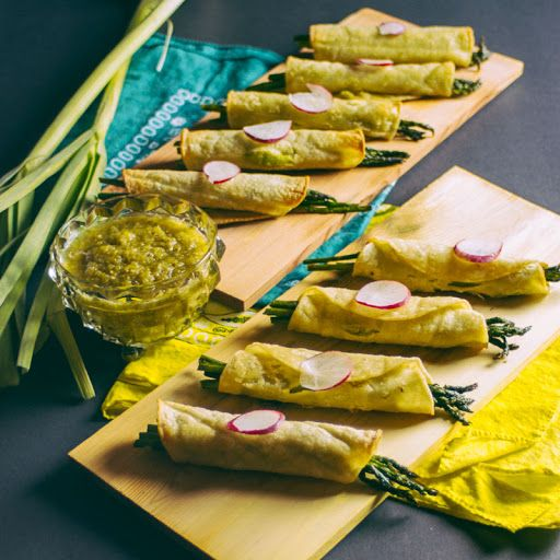 Taquitos Primavera with Green Garlic Salsa Recipe on Yummly
