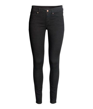 Super Skinny Regular Jeans | Schwarzer Denim | DAMEN | H&M DE