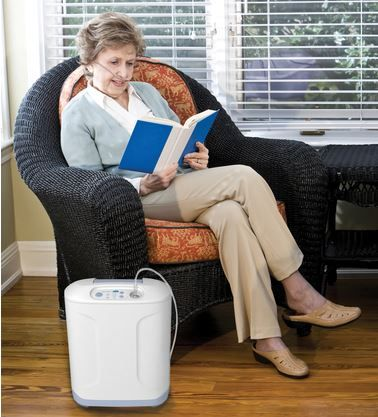 The Inogen at home oxygen concentrator is 50% lighter than some other home stationary oxygen concentrators in use today. It's small size and quiet operation allow you to place it anywhere in your home and it's energy efficient!
