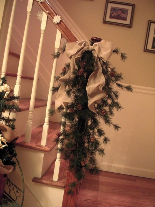 Burlap ribbon and decor for stairs christmas love for Decorating with burlap ribbon for christmas