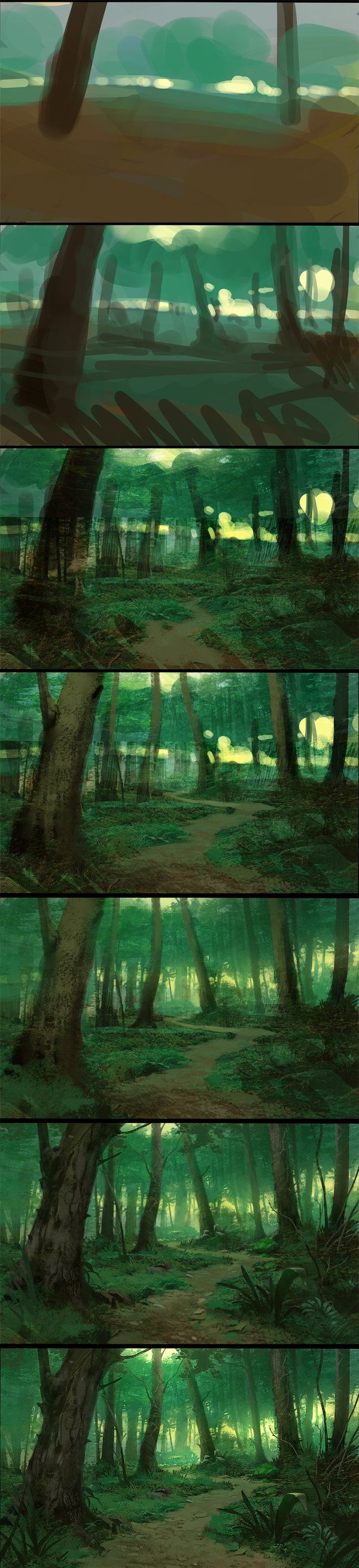 Steps by UnidColor.deviantart.com on @deviantART How the hell did you go from bloby-ness to awesome forest?
