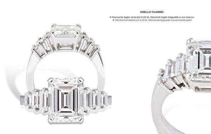 Anello Classic - Diamond emerald cut 4,02 kt, Diamonds baguette cut and white gold - Diamante taglio emerald 4,02 kt, Diamanti taglio baguette e oro bianco #jewelry #gioielli #luxury #madeinitaly #classic