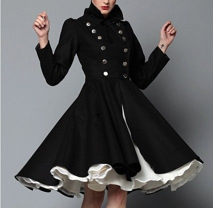 Military style buttons with a girly flare... love it: Black Coats, Full Skirts, Military Coats, Black And White, Dresses, Jackets, Military Style, Circles Skirts, Winter Coats
