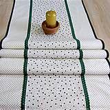 Úžitkový textil - Zelené malé hviezdy so zlatou - stredový obrus 134x44 - 7209420_
