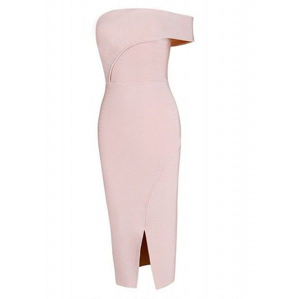 Pink Strapless Front Split Bodycon Dress ($161) ❤ liked on Polyvore featuring dresses, body conscious dress, bodycon cocktail dress, pink dress, pink cocktail dress and strapless dresses