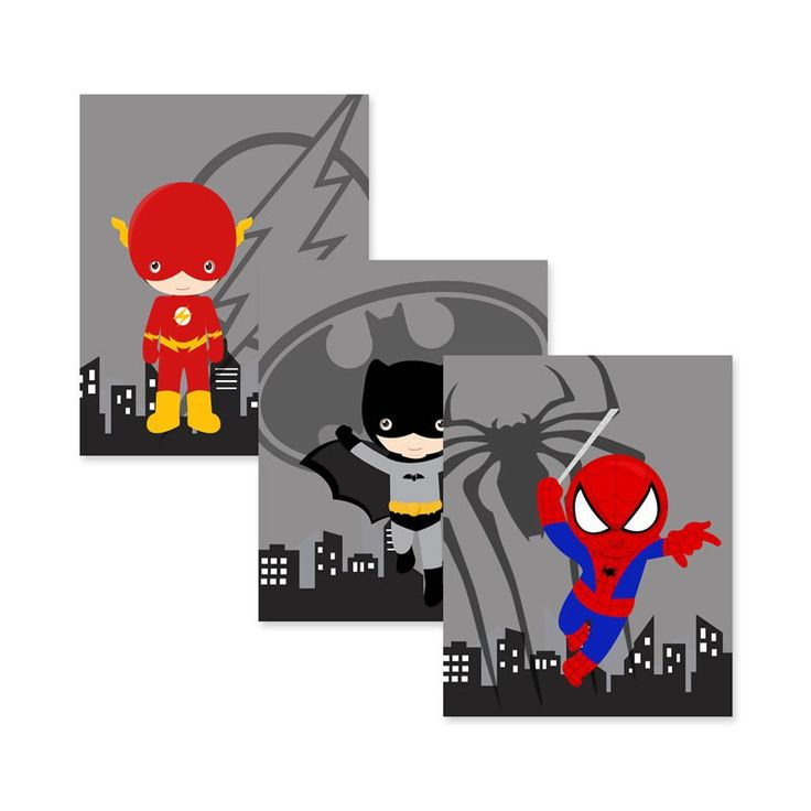 Superhero Logo Wall Art - 8 Heros to choose from and it comes in a set of 3!