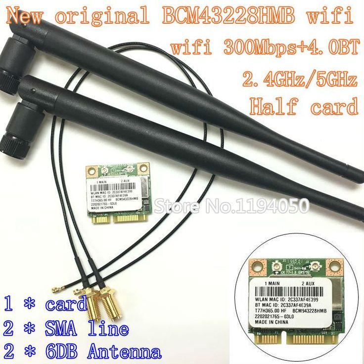 Broadcom BCM943228HMB/BCM43228 2.4Ghz /5Ghz Wireless 802.11A/B/G/N AND BT Bluetooth 4.0 Half MINI PCI-E WIFI Card 6DB antenna //Price: $20.27 & FREE Shipping //     #hashtag3