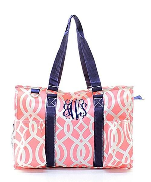 """Personalized Ivy Moroccan Coral 18"""" Large Organizing Utility Tote Bag - Gifts Happen Here - 1"""