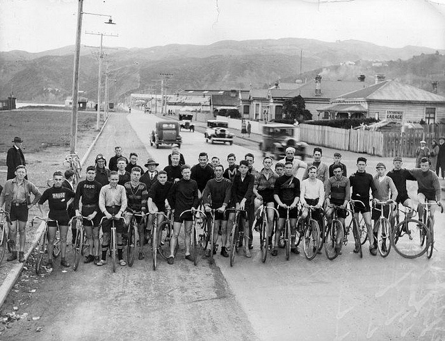 Cyclists at Petone foreshore circa 1930
