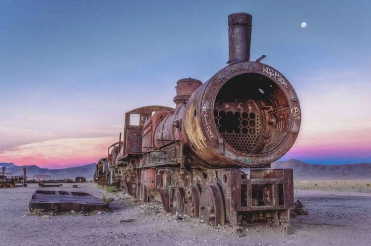 Taken in a train graveyard on the edge of the Uyuni salt flats in Bolivia