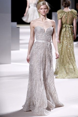 Dipped neck, VERY blinged-out evening gown!