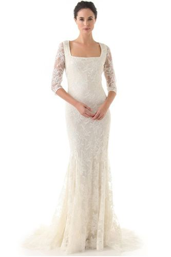 Badgley Mischka Collection Lace 3/4 Sleeve Gown, $3,480, available at ShopBop