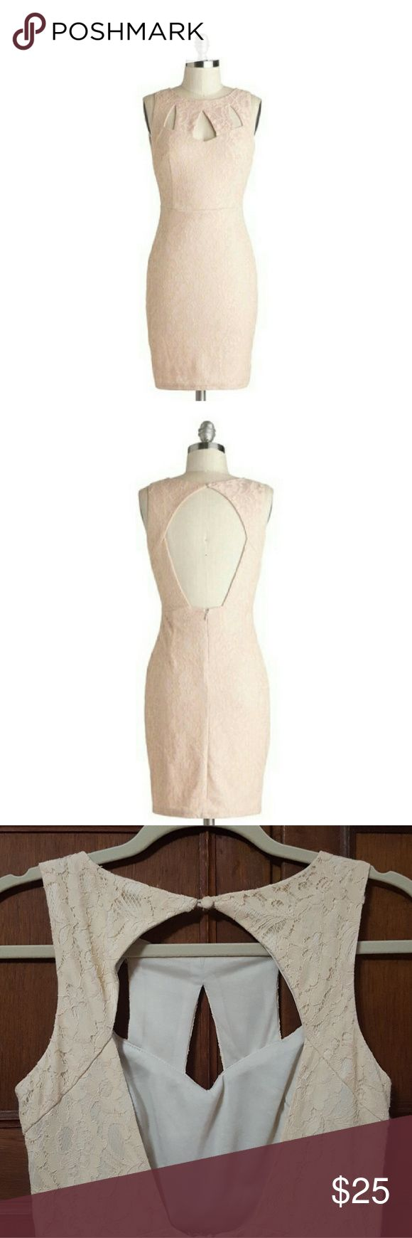 """Ark & Co. Peach Lace Cutout Sleeveless Tea Dress Beautiful dress. """"Across the Table"""" dress in Petal by Ark & Co. Good overall condition. Does have lint/""""fuzzies"""". See close-up pics for examples. Lovely pale peach (or pale nude) color.   When flat: Shoulder to shoulder approx 11 3/4"""", armpit to armpit 16.5"""", waist 13.5"""", length 32"""". All measurements are approximate. Ark & Co Dresses"""