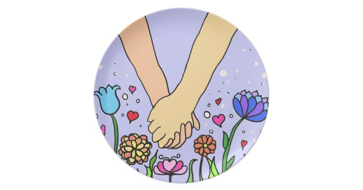 Romantic Holding Hands - dating / anniversary gift Melamine Plate
