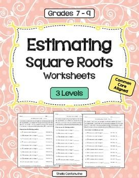 ***   Save when you purchase these worksheets as part of the  Exponents and Square Roots Worksheet Bundle.  .   *** These practice problems cover estimating square roots. Questions include:* The square root of 23 is between which 2 integers? 4 and 5.   It is closer to 5.Please check out the thumbnail images and the preview file above to see what the problems look like.