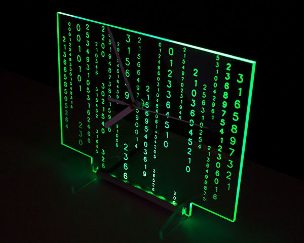 """Clock """"Matrix"""" with green backlight LED. Clocks are designed and manufactured by our company. Modern design."""